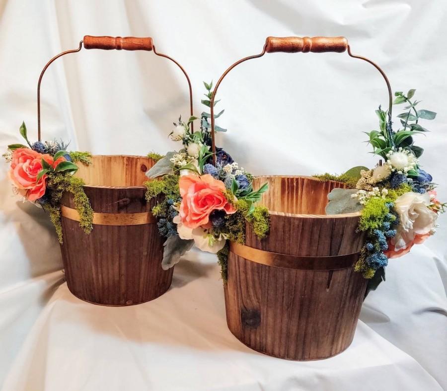 Wedding - Ivory Flower Girl Basket/ Flower Girl Baskets