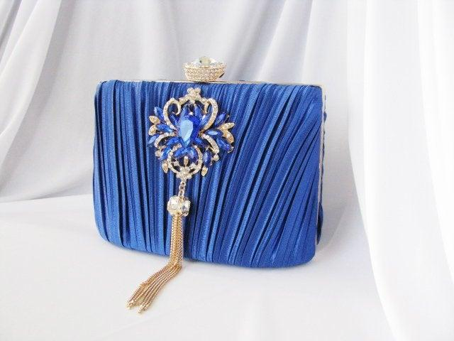 Mariage - Sapphire blue, crystal front, crystal Wedding Bag, Clutch Formal Evening Bag with Crystal Accent fashion bag