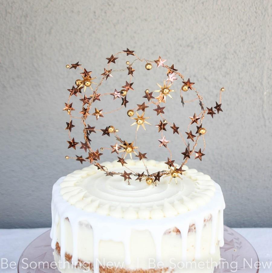 Wedding - Celestial Wedding Cake Topper In Copper and Gold, Star Wedding Decor, Boho Weddings Astrological Mixed Metal Cake Picks