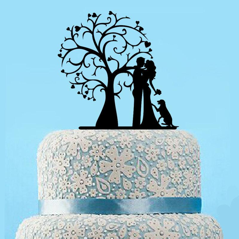 Wedding - Wedding Cake Topper Tree,Silhouette Cake Topper Dog,Rustic Wedding Bride and Groom Cake Topper,Unique Rustic Cake Topper,Custom Cake Topper