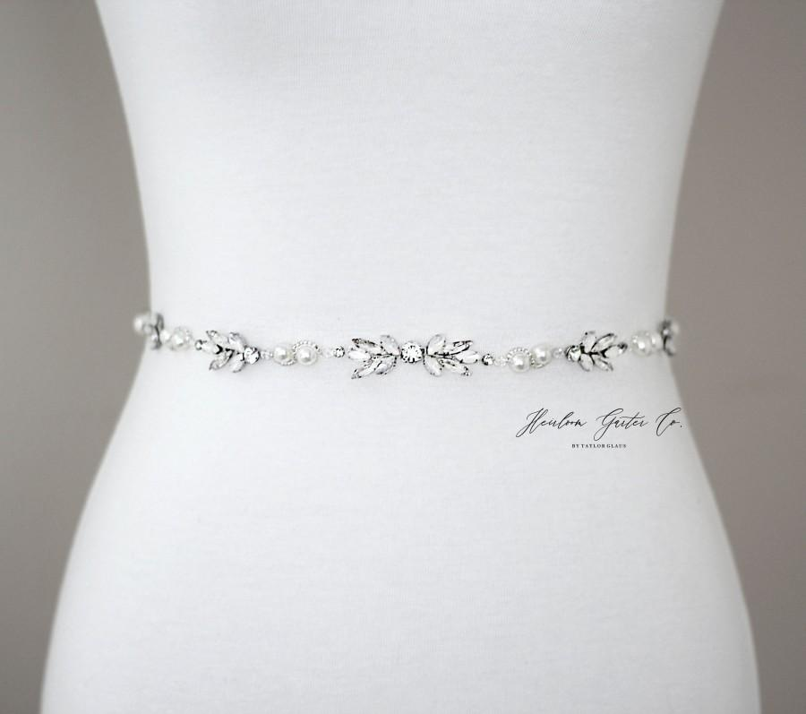 Mariage - Dainty Opal Bridal Belt, Prom Belt, Rhinestone Bridal Sash, Beaded Bridal Sash, Wedding Belt, Wedding Sash Rhinestone Sash B96