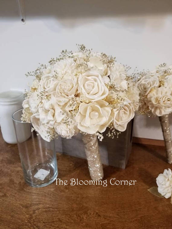 Mariage - Sola ivory Bouquet,champagne bouquet, bride bouquet, winter  bouquet,  brides Bouquet, Sola flowers,Wood bouquet, sola wood bouquet,