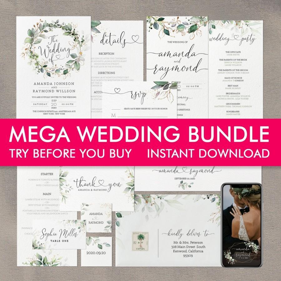 Wedding - Wedding Invitation Template Bundle, Wedding Invitations, Printable Wedding Invitation Set, Wedding Program, Wedding Menu, Snapchat Filter