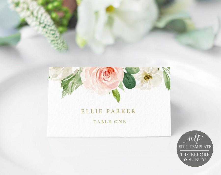 Wedding - Place Card Template, TRY BEFORE You BUY, Editable Blush Floral Wedding Seating Card, Instant Download