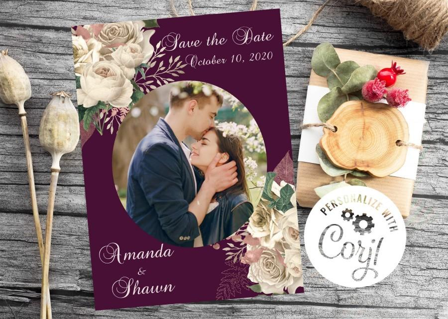 Wedding - Add your own photo,Editable,Wedding,Ivory rose,fuschia,rose gold,Save the Date,romantic,Digital Download,CORJL