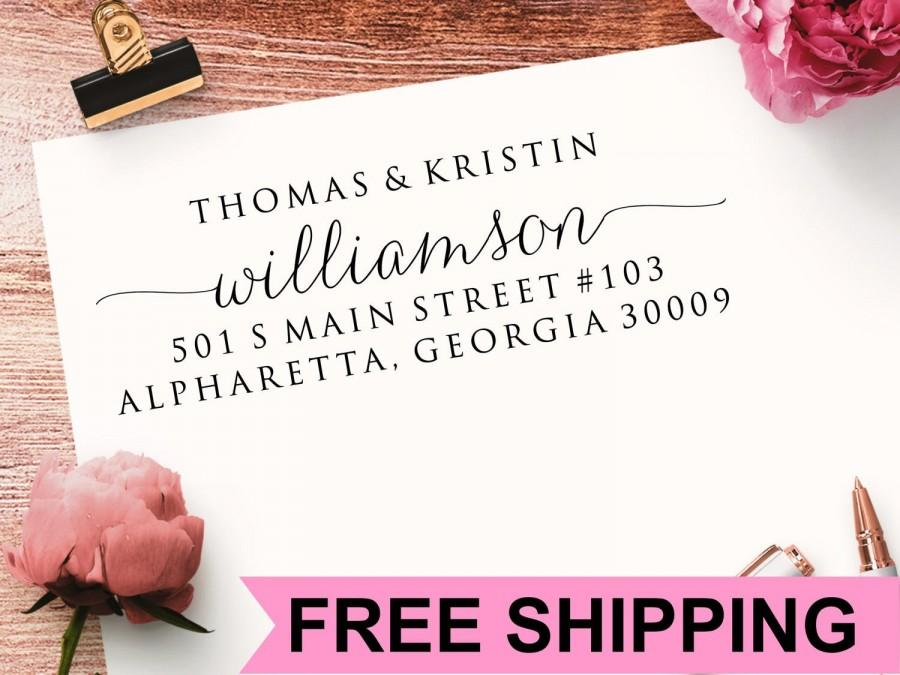 Wedding - Return Address Stamp, Self Inking Address Stamp, Calligraphy Address Stamp, Wedding Address Stamp, Personalized Address Stamp TJCP2770