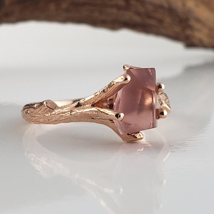 Mariage - Tourmaline Engagement Ring - Engagement Ring - Twig Engagement Ring - Gemstone Wedding Ring - Raw Tourmaline Ring - Twig Engagement Ring