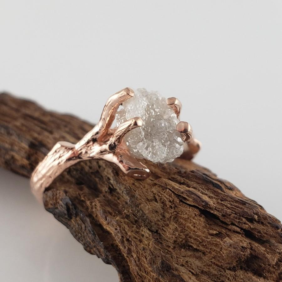 Свадьба - 1.73 ct Raw Uncut Rough Diamond in 14k Rose Gold Twig Engagement Anniversary Ring by Dawn Vertrees