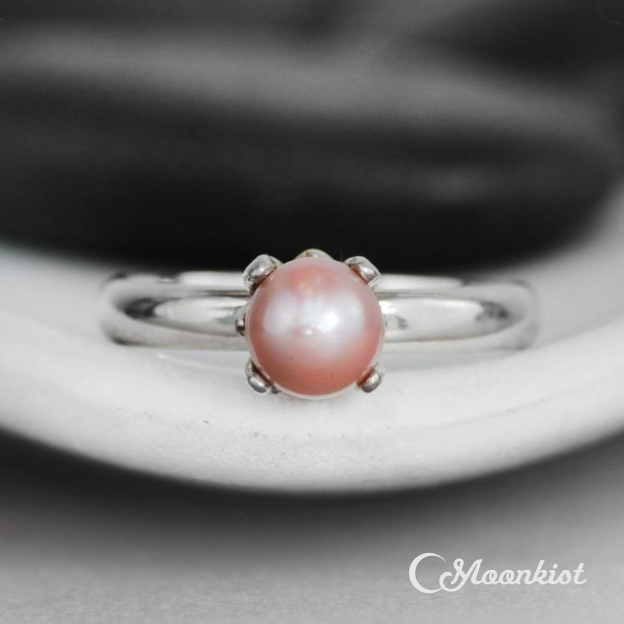 Wedding - Pink Pearl Engagement Ring - Sterling Silver Pearl Wedding Ring - Simple Pearl Ring - Minimalist Pearl Bridal Ring - June Birthstone Ring