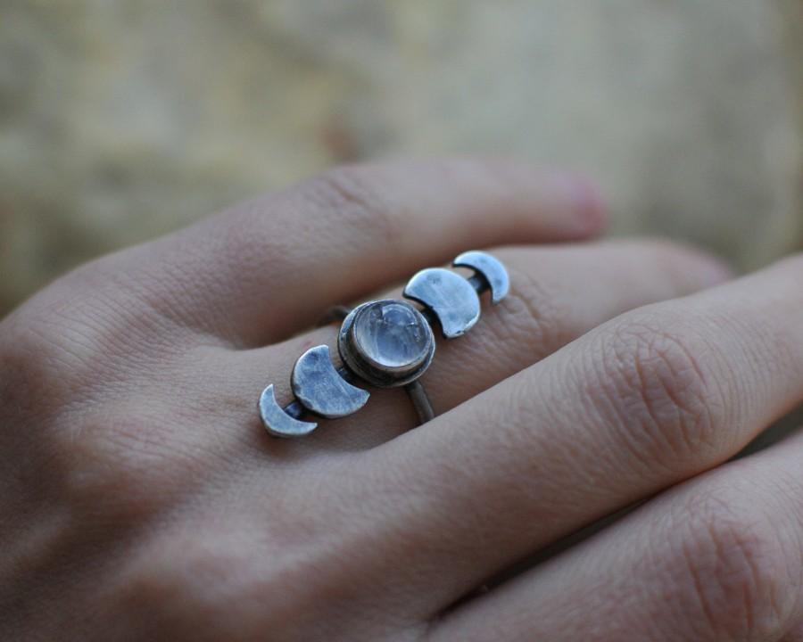 Mariage - waxing moon, moon phase ring, moon ring, moon cycle ring, celestial jewelry, moon phases ring, moonstone ring, celestial jewelry