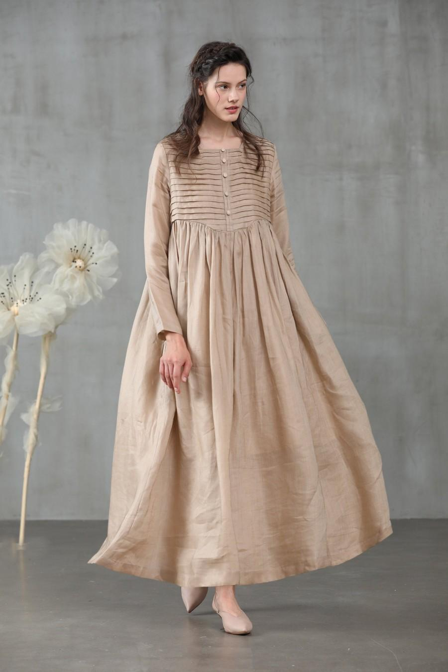 Linen Dress Maxi Dress In Champagne Winter Dress Pleated Dress Longsleeved Dress Wedding Dress French Dress 2946660 Weddbook,Wedding Guest Dresses For Chubby Ladies