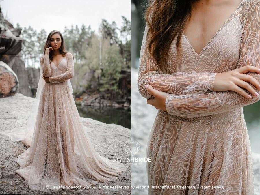 Mariage - Laura Glitter Bridal Dress, Waves Wedding Glitter Dress V-neck with Bodysuit or Slip Long Silk Dress, Engagement Nude Dress, SBA 2020
