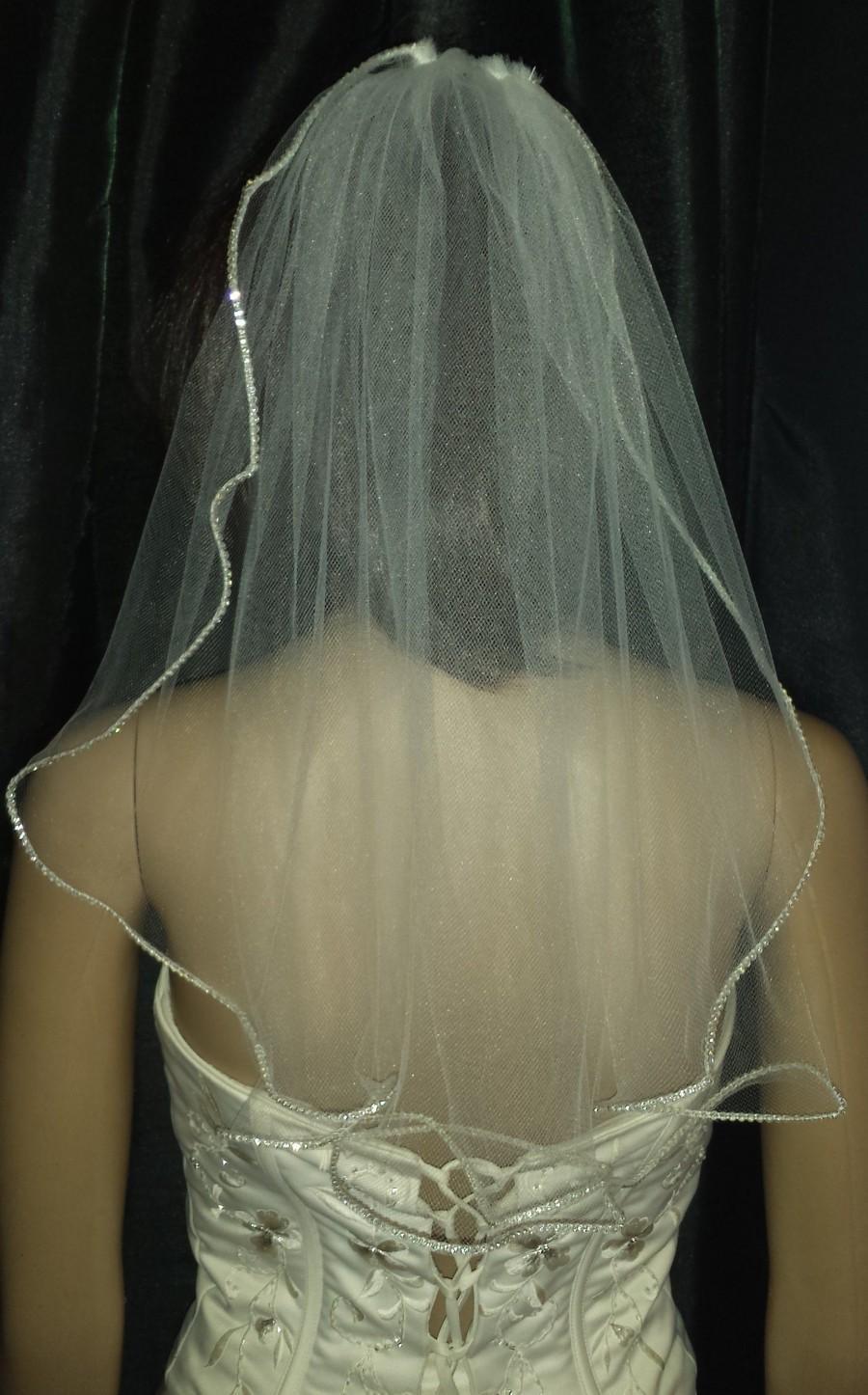 "Wedding - Hen party veil Diamante Rhinestone edged wedding veil 1 Tier 20"" length. Brides up do hair. Other colour's white, Pale Ivory FREE UK POSTAGE"