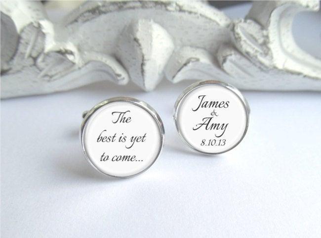 زفاف - Personalized Groom Cufflinks, Keepsake Wedding Day Cufflinks, The Best Is Yet To Come