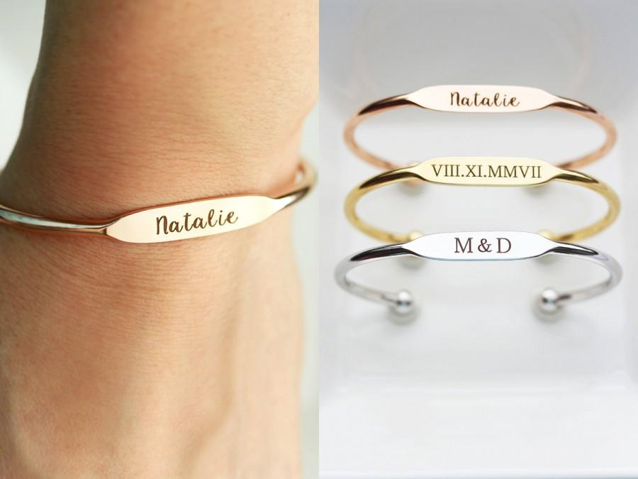 Wedding - Personalized Bridesmaid Gift, Engraved Bracelet - Personalized Gift for Her, Personalized Bracelet, Engraved Gift Personalized Cuff Bracelet