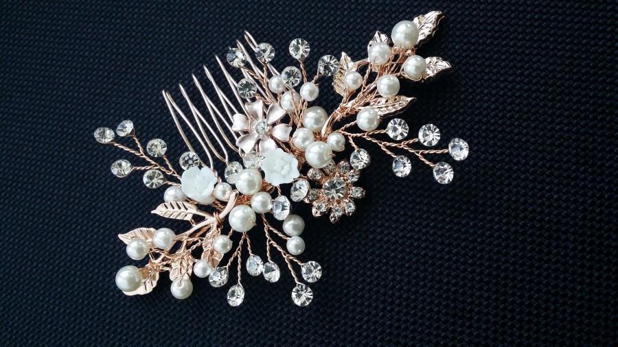 زفاف - Rose Gold Floral Hair Comb/Wedding Rose Gold Hair Vine Comb/ Bride Wedding Rose Gold Hair Piece/Rose Gold Flower Hair Comb