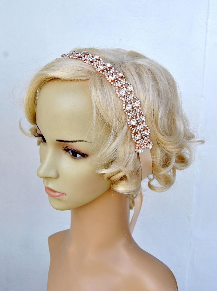Свадьба - Rose Gold Headband Bridal Wedding Rose Gold Rhinestone Wedding Bridal Crystal Headband Headpiece Rose GOld 1920s Flapper headband headpiece