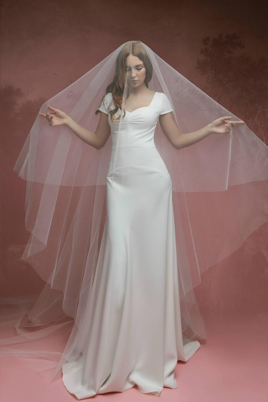 زفاف - Simple Wedding Veil A20, Cathedral veil A20, Wedding Veil, Soft Wedding Veil, Blush Veil, Nude Veil, Gray Veil, Two Tier Veil, Chapel Length