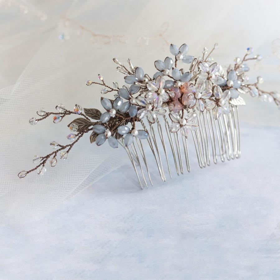 Wedding - Something blue bridal comb, bridal comb, wedding comb, crystal comb, rosemary comb, wedding accessory, crystal headdress, bridal accessories