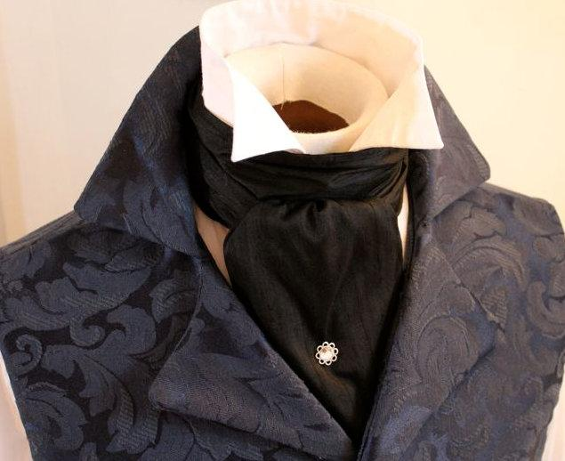 Mariage - Midnight Black Dupioni Silk REGENCY Brummel Victorian Ascot Tie Cravat