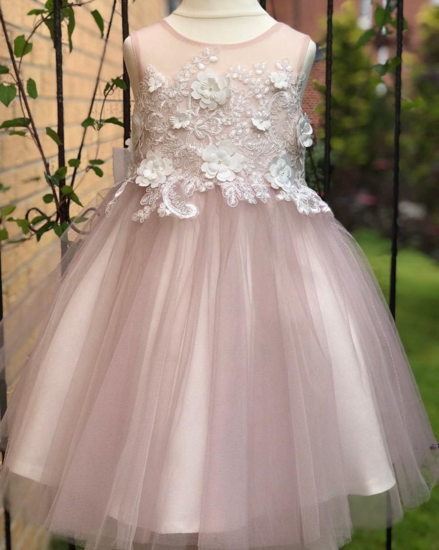 Hochzeit - Dusty Rose 3D Flower Lace V Back Wedding Flower Girl Dress M0078B