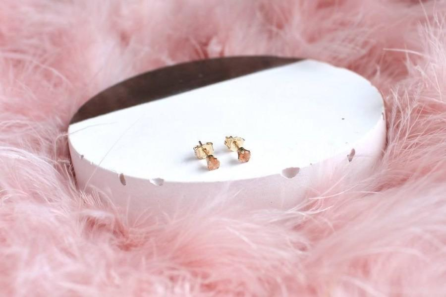 Mariage - Gold Sunstone Studs - Tiny Gemstone Earrings - Orange Crystal - Bridal Party Earrings