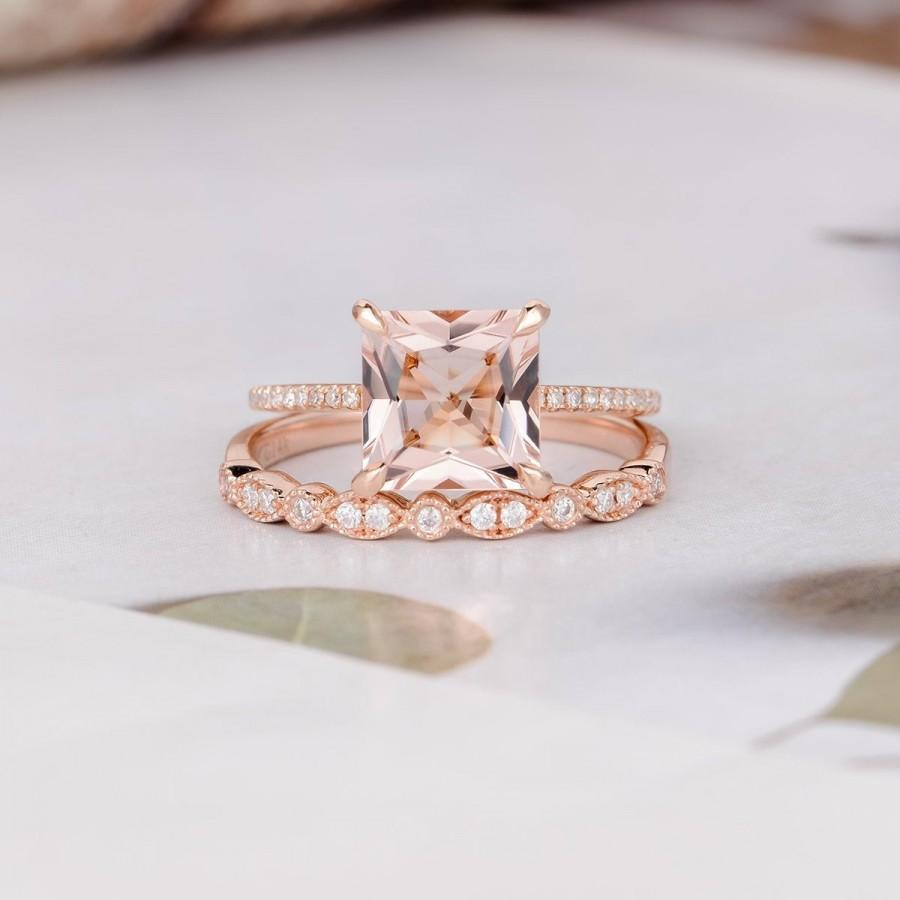 Wedding - Princess Cut Morganite Engagement Ring Rose Gold Diamond Wedding Eternity Rose Gold Bridal Set Women Art Deco Anniversary Gift for Her