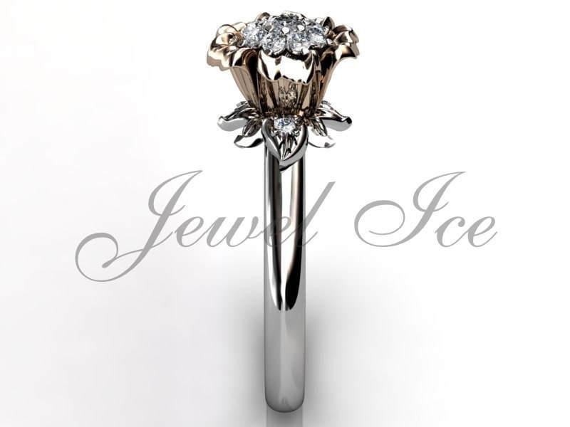 Mariage - Flower Engagement Ring, 14k White and Rose Gold Diamond Cluster Flower Engagement Ring, Wedding Ring, Leaf Ring, Art Deco Ring ER-1034-5
