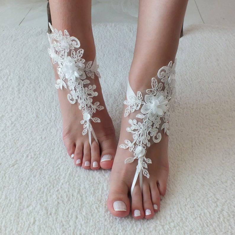 Wedding - Beach wedding, Barefoot Sandals, Ivory Silver Barefoot sandals, Bridal sandals, Wedding shoes, Bridal shoes, Bridesmaid gift Beach Shoes