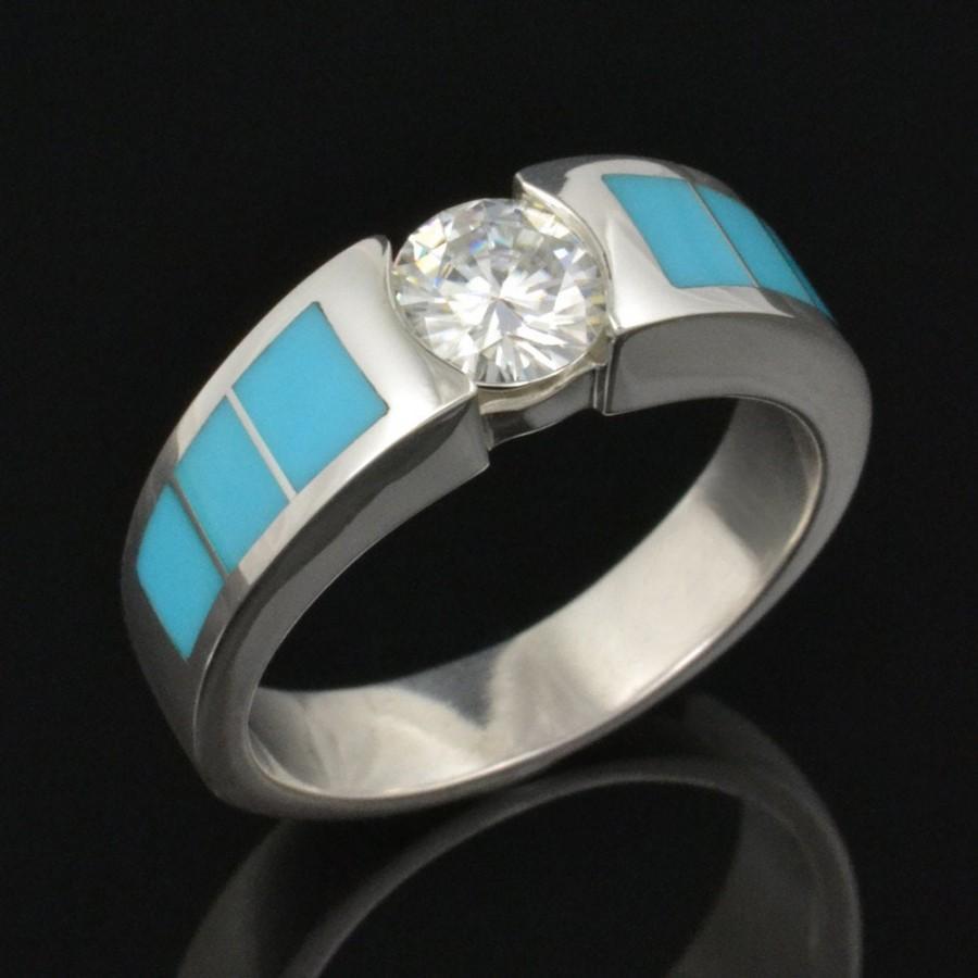 Mariage - Turquoise Engagement Ring-  Moissanite and Turquoise Engagement Ring in Sterling Silver