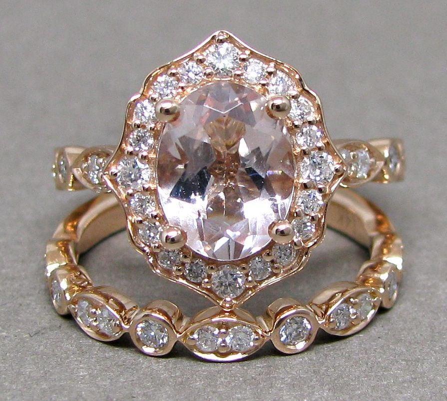 Mariage - Oval 9x7 Morganite Engagement Ring Diamond Bridal Set Wedding 14k Roe Gold 2 1/3ct Total Weight Vintage Scalloped Design