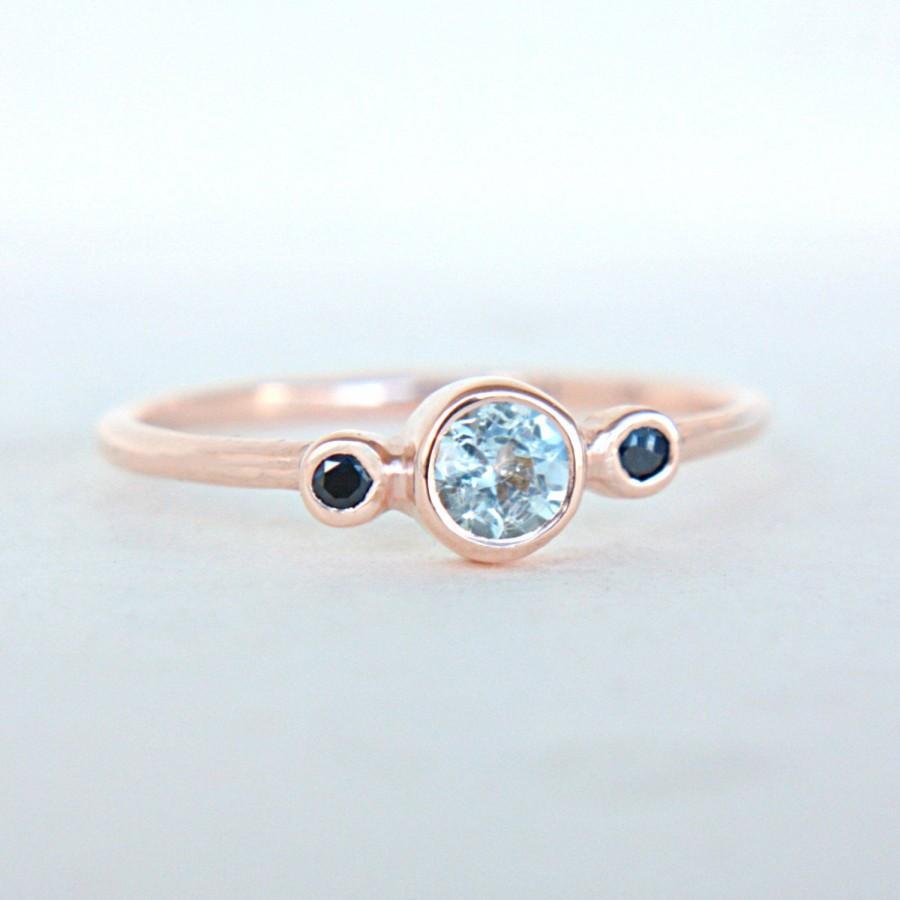 Hochzeit - Rose Gold Aquamarine and Blue Sapphire Ring 14k Gold Natural Aquamarine Sapphire Gold Ring Aquamarine Engagement Ring Alternative Ring