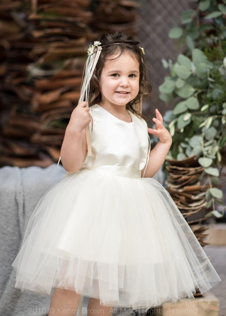 Wedding - Custom Flower Girl Dress with Removable Tutu