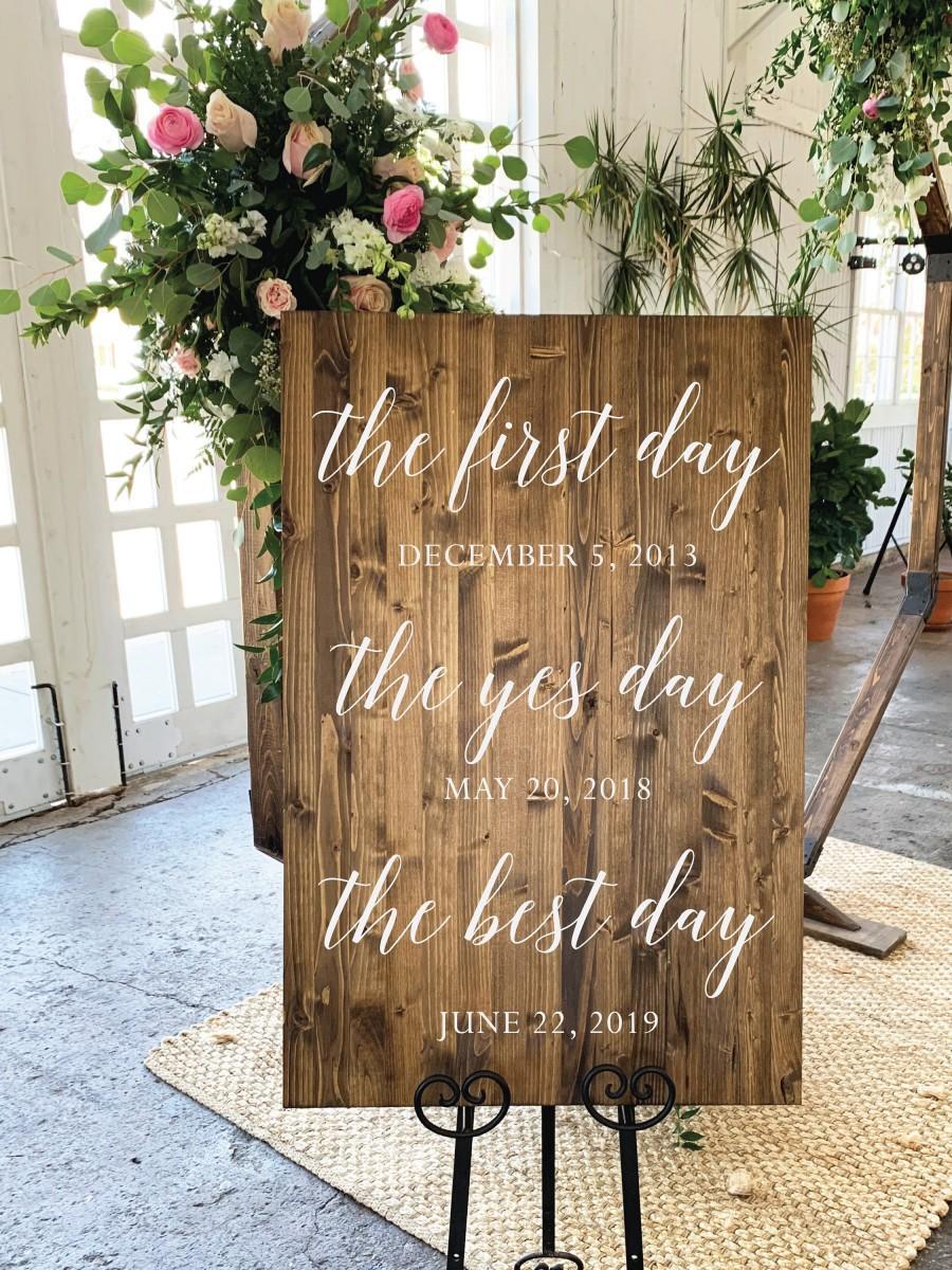زفاف - First Day, Yes Day, Best Day, Wood Wedding Sign - Chantilly Collection