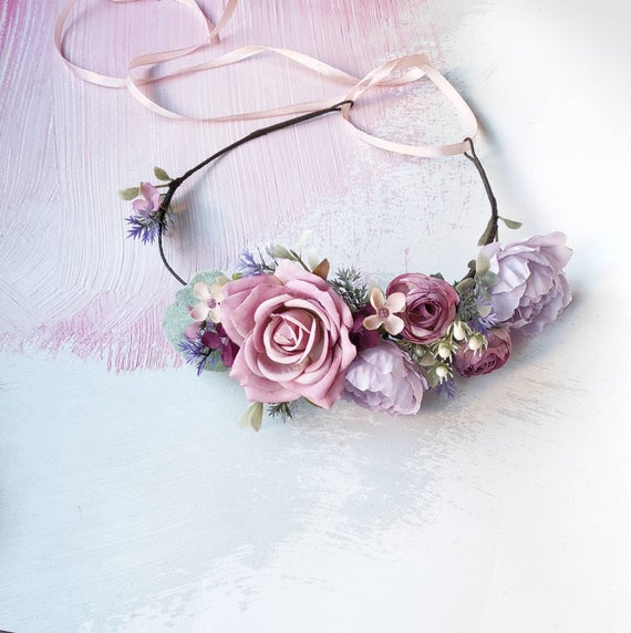 Mariage - Purple lilac lavender flower crown, Wedding floral headband, Bridal floral crown, Flower crown adult, Mauve rose crown