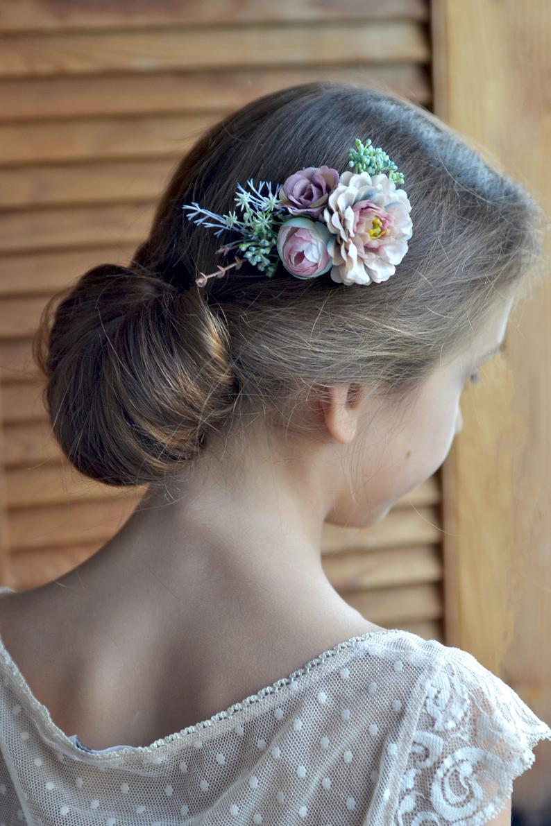 Mariage - Blue beige floral comb, Wedding fascinator, Flower wedding hair piece, Hair clip flower, Hair comb bride