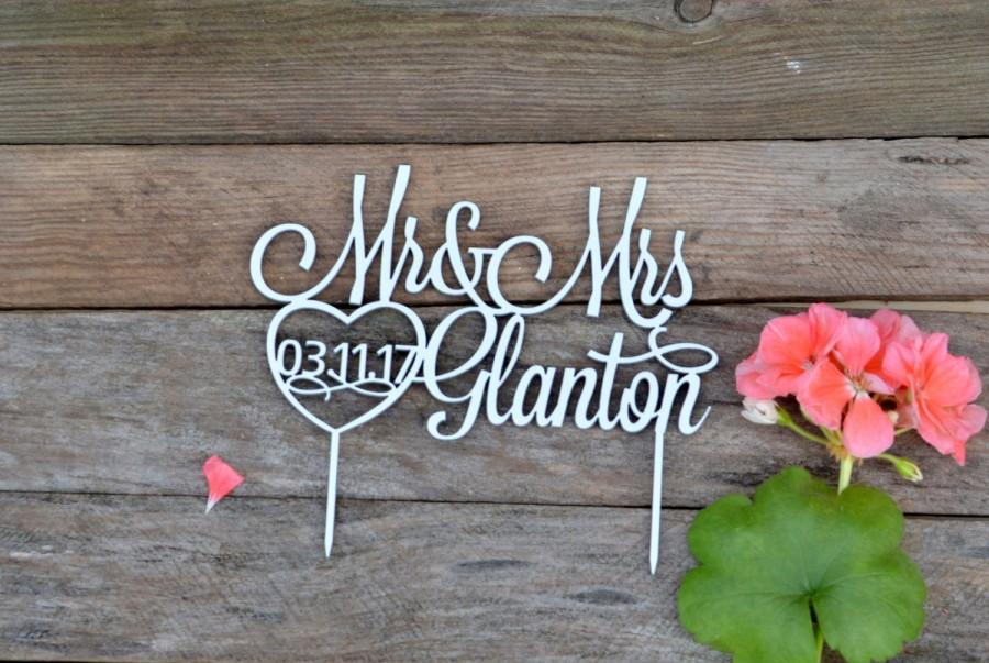 Mariage - wedding Cake Topper with Data Mr and Mrs Personalized Custom Date Last Name Wedding Cake Toppers for Wedding Decor gold Bride and Groom