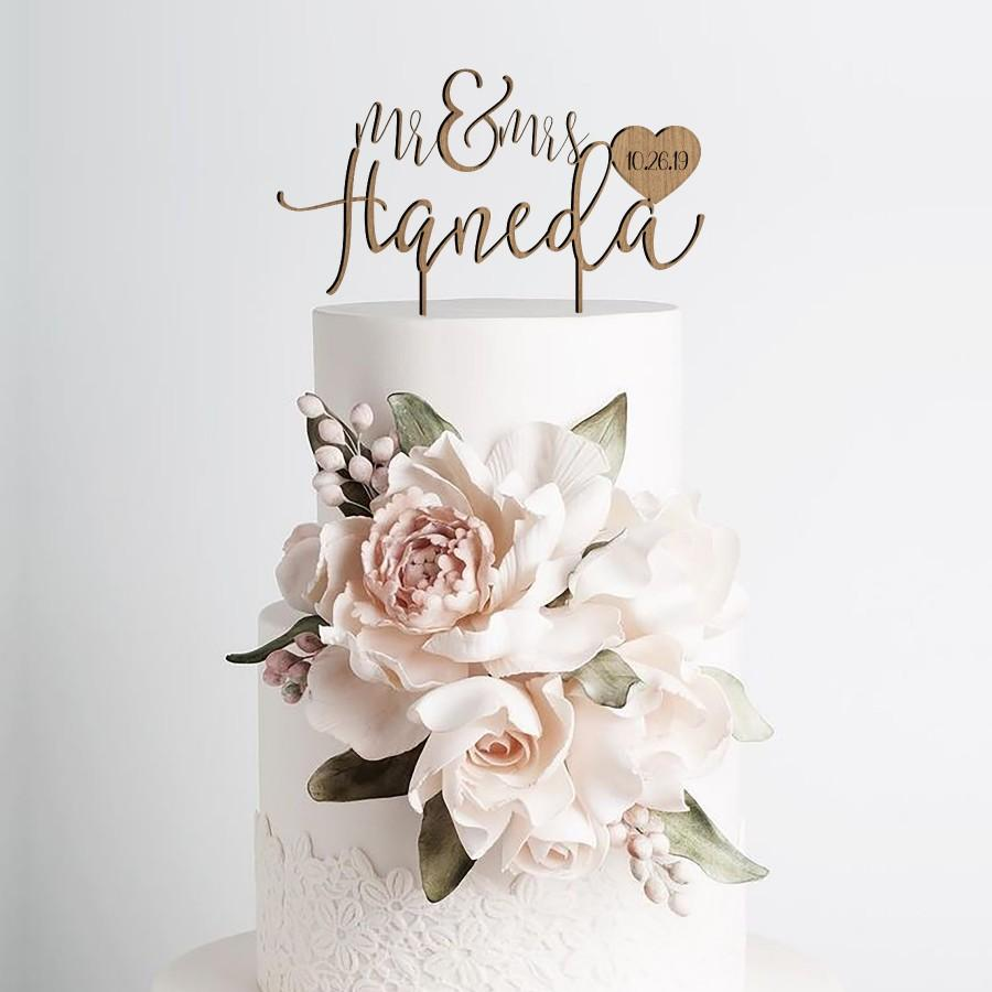 Mariage - Rustic Mr and Mrs Cake Toppers for Wedding by Rawkrft - Custom Cake Topper Personalized - Wedding Cake Topper Made in Los Angeles California