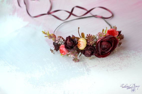 Hochzeit - Fall wedding flower crown Burgundy orange floral crown Bridal headband Burgundy hair wreath Bridesmaids crowns Autumn crown Bride