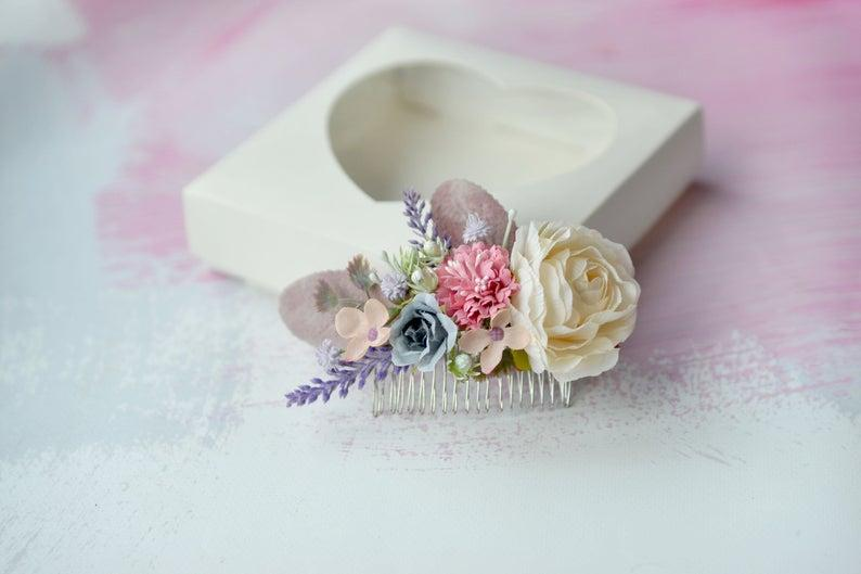 Wedding - Pastel wedding flower comb, Bridal shower hair ccomb, Wedding hair comb pastel, Artificial floral comb, Bride hair accessory, Cream flower