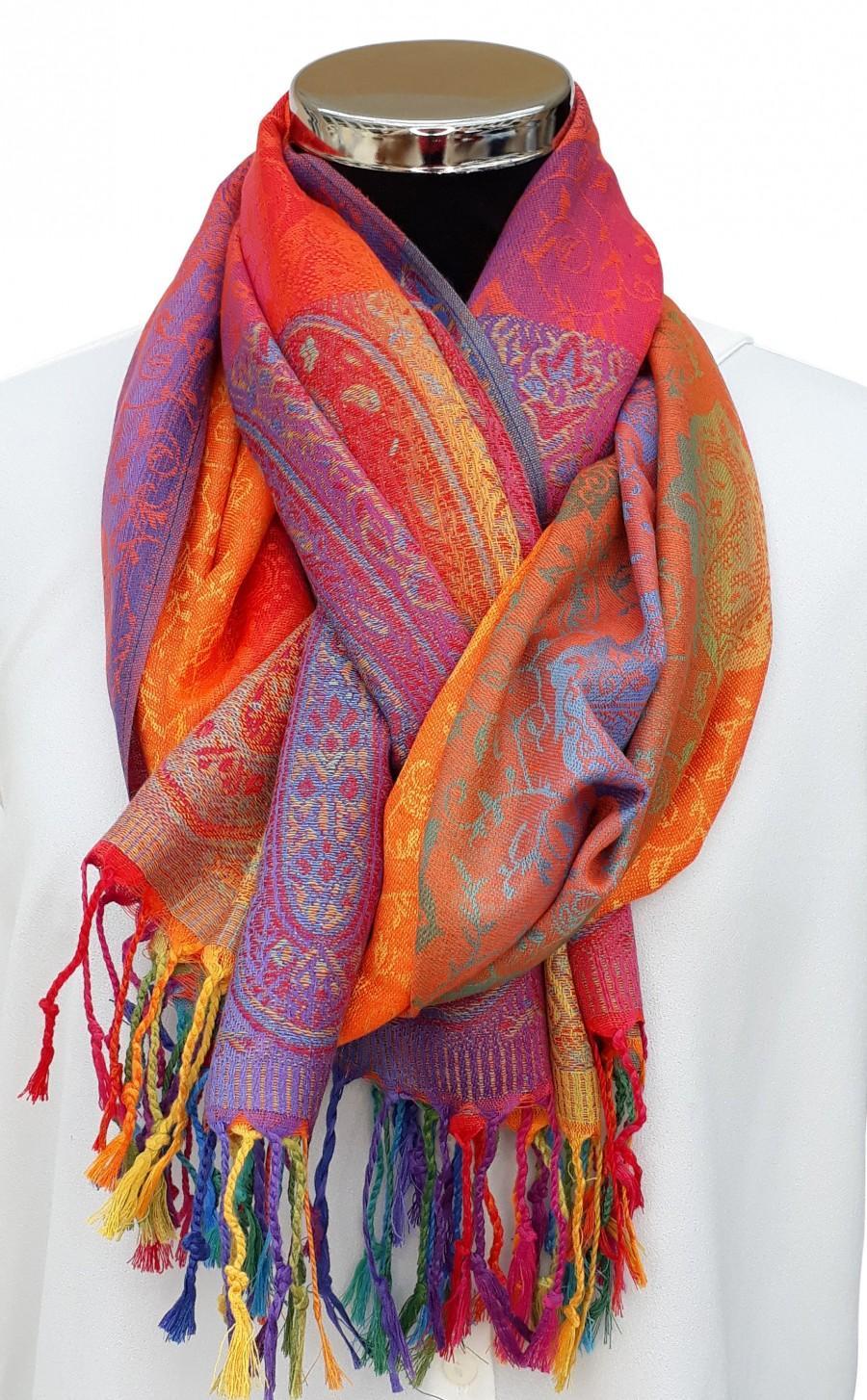 Mariage - Orange Paisley Rainbow Rosie Pashmina