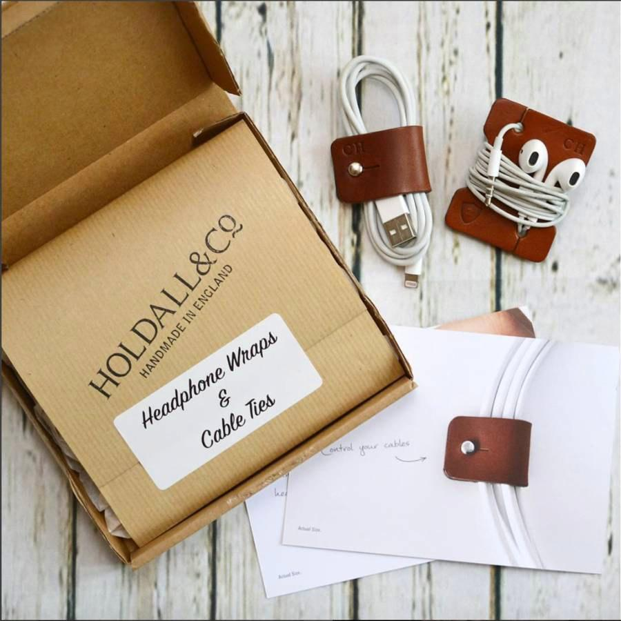Mariage - Personalised Leather Cable And Headphone Organisers - made in England