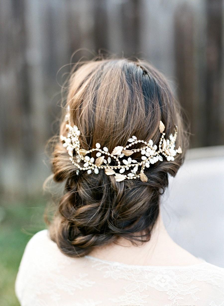 Wedding - Bridal Headpiece, OPHELIA Bridal Pearl Headpiece ,Freshwater Pearl Hairvine, Swarovski Comb, Gold Bridal Pearl Headpiece, Bridal Hairclip