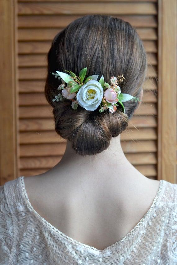 Mariage - White peach flower comb Bridal floral headpiece Wedding white rose hair comb Bride hair clip flowers