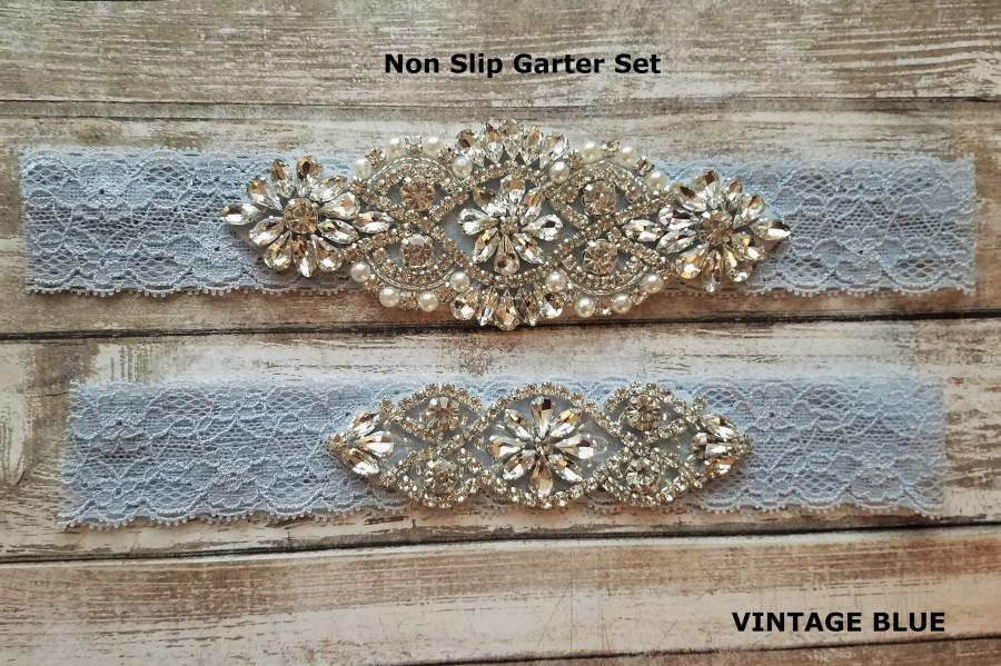 Mariage - Sale -Wedding Garter and Toss Garter-Crystal Rhinestone - Vintage Blue Garter Set - Style G37000CR