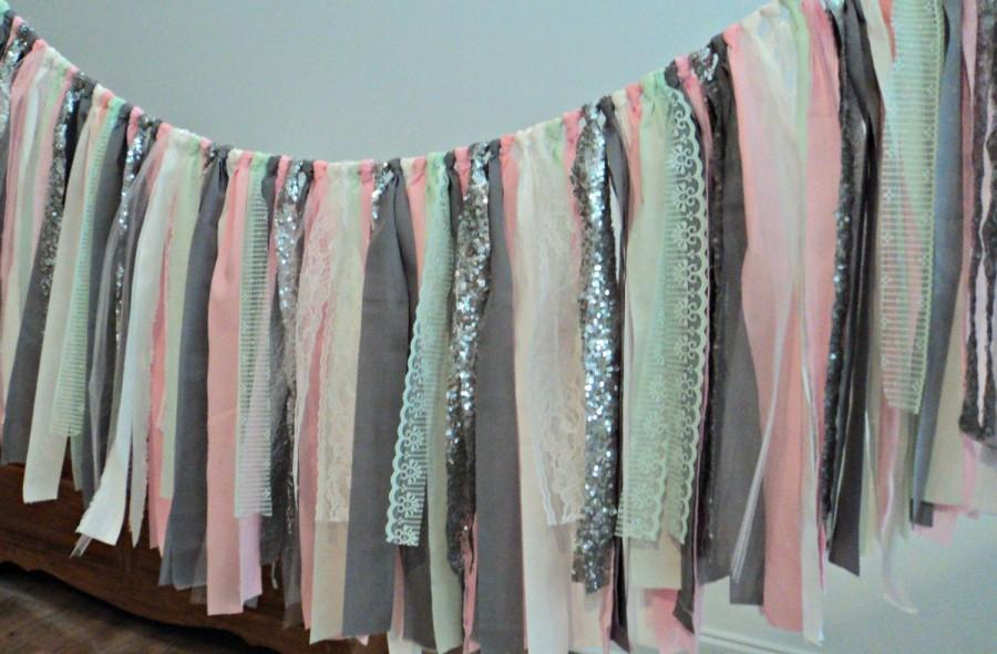 Mariage - Fabric Garland Charcoal Gray Pink Mint Sequin Nursery Garland Wedding Garland Smash Cake Photo Prop Bridal Shower Decor Cake Table Decor