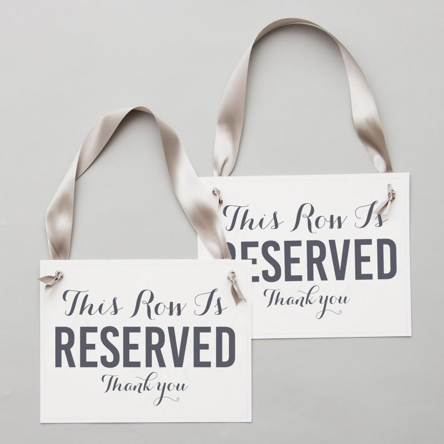 Mariage - Reserved Row Signs (Set of 2) This Row Is Reserved Signs Reserved Chair Sign Wedding Ceremony Party Corporate Event Conference Seating 2095