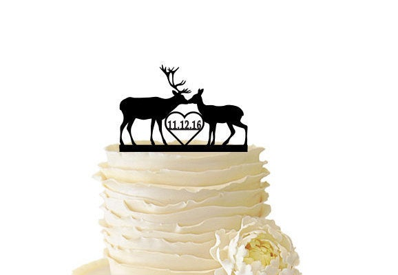 Mariage - Kissing Deer With Date or Initials - Buck And Doe -  Acrylic or Baltic Birch Wedding/Special Event Cake Topper - 099