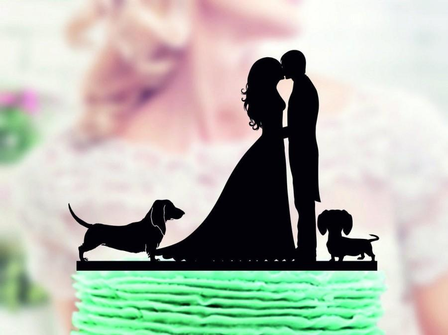 Wedding - Wedding cake topper with two dogs dachshund, Couple with Dog Topper, silhouette cake topper for wedding, dog cake topper,  funny cake topper