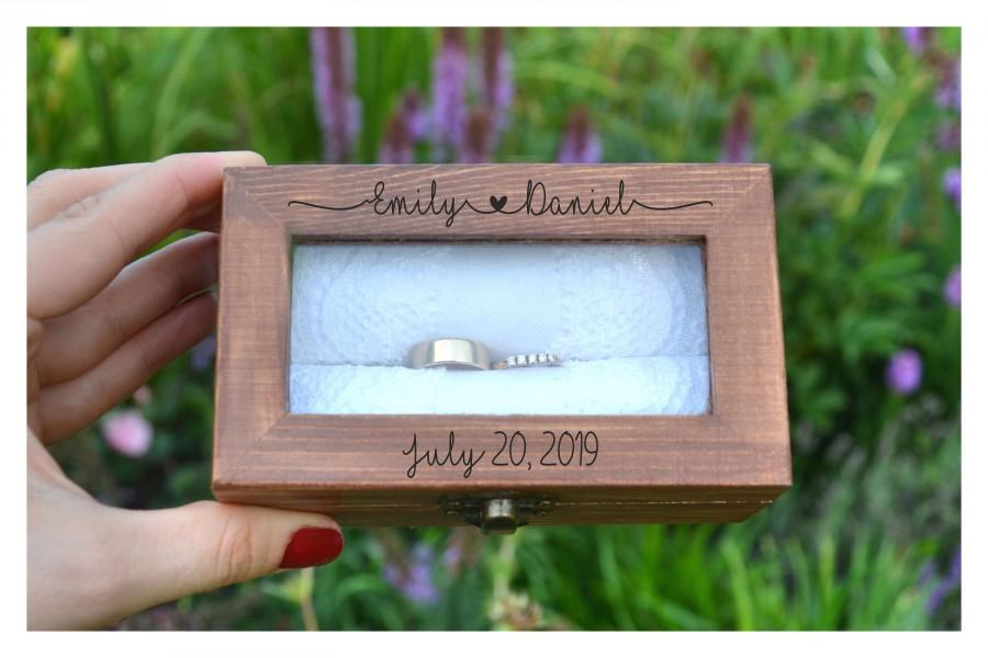 Wedding - ring box, Personalized ring box with glass lid, wedding box, wooden ring box ,ring bearer box,engagement ring box, custom ring holder (RX52)